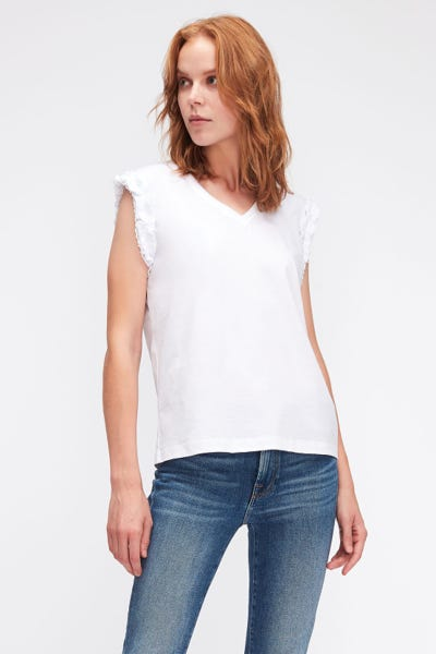 SLEEVELESS V-NECK TOP JERSEY W/SANGALLO SLEEVES WHITE