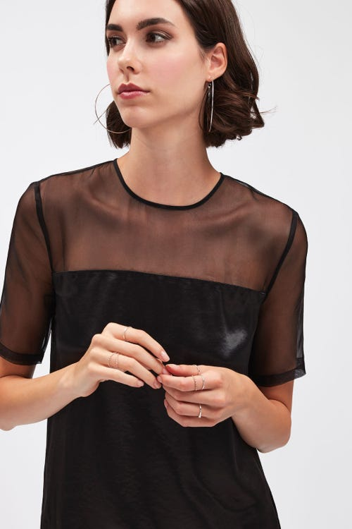 SEE THROUGH TOP VISCOSE ORGANZA BLACK