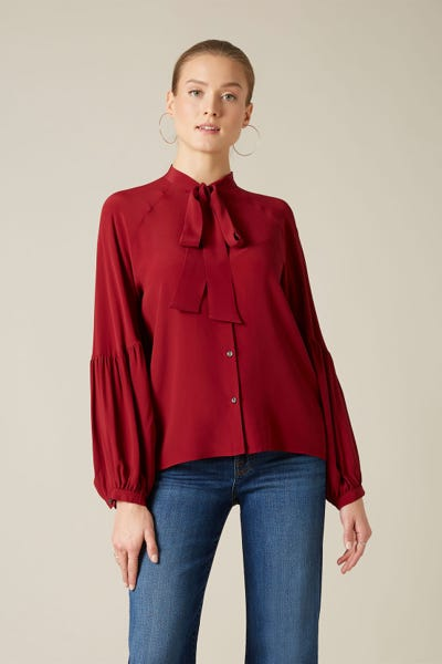 BOW TIE NECK RAGLAN BLOUSE SILK GARNET