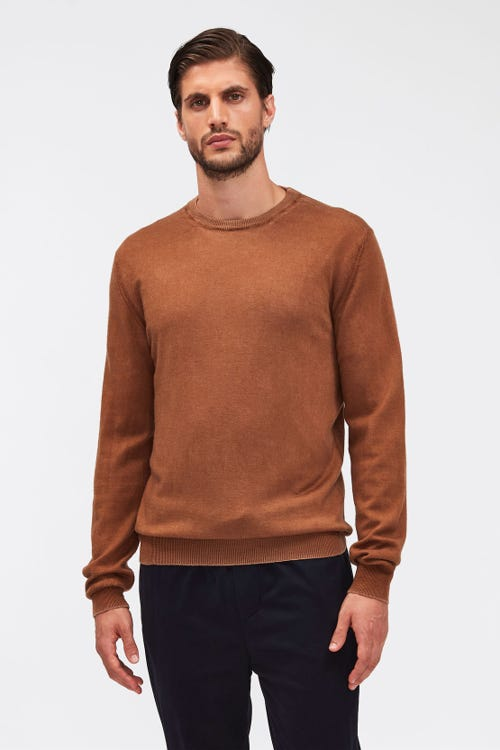 CREW NECK KNIT MERINO TREATED CAMEL