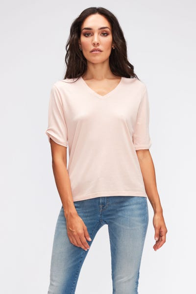 TEE TWISTED SLEEVES CUTIL W/EMBROIDERY PINK