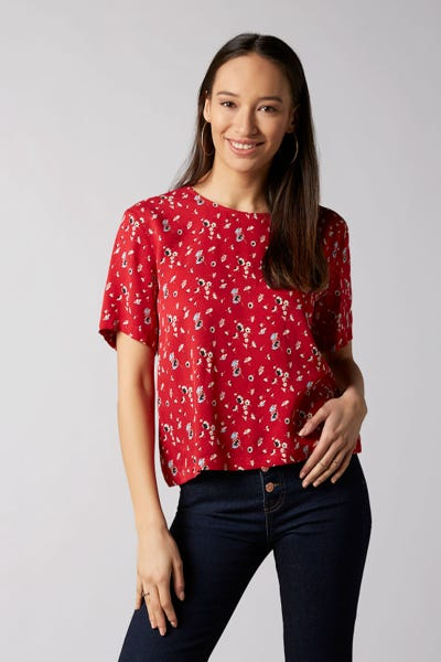 7 For All Mankind - Short Sleeve Tee Viscose Red With Ditsy Flowers