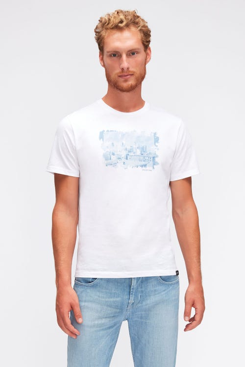 GRAPHIC TEE COTTON INDIGO  WHITE