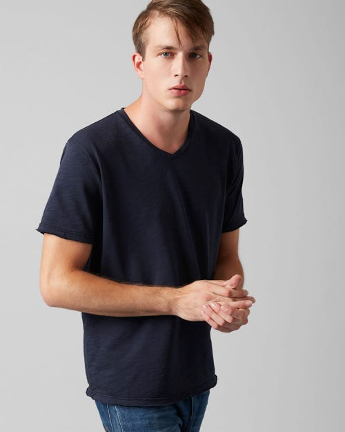 7 For All Mankind - V-Neck T-Shirt Cotton Raw Edge Midnight Blue
