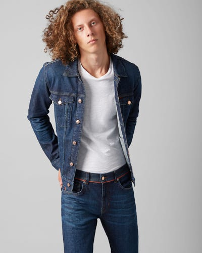 7 for all Mankind - TRUCKER JACKET SELVEDGE VITALIZED DARK BLUE