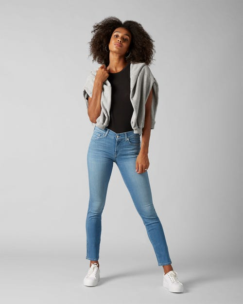 7 for all Mankind - MID RISE ROXANNE CROP SLIM ILLUSION LUXE FAIRFAX WITH TONAL BARTACKS