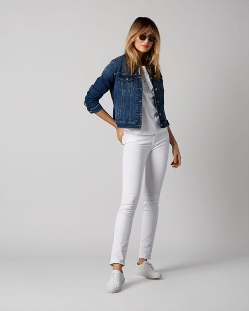 7 For All Mankind - Mid Rise Roxanne Slim Illusion Pure White