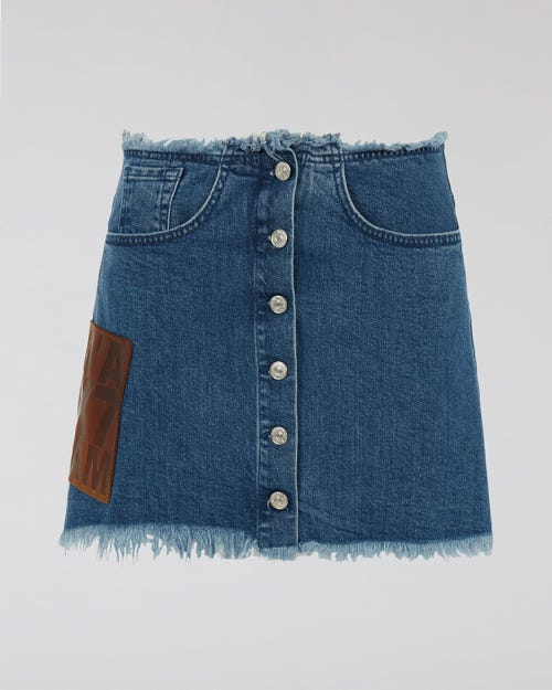 7 For All Mankind - Mini Skirt Stonewash With Buttons M'A X 7Fam