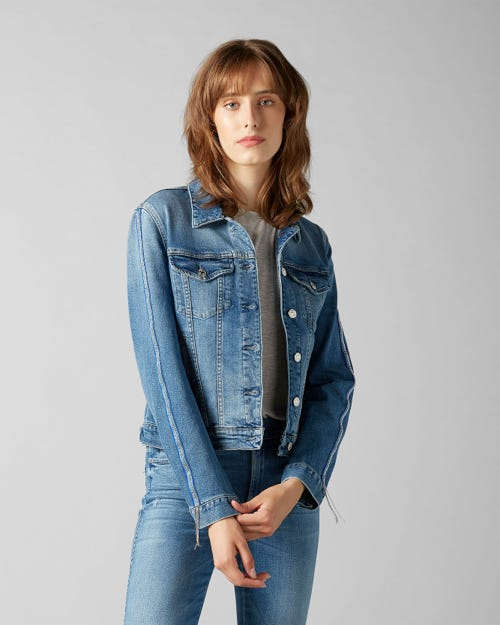 7 For All Mankind - Modern Trucker Figueroa With Metallic Blue Chain