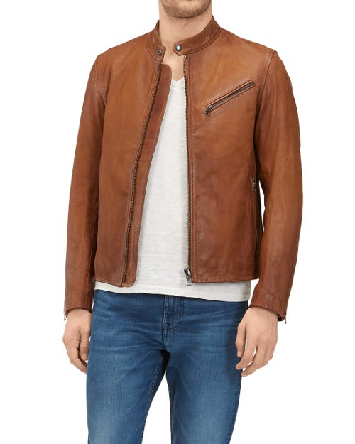 BIKER JACKET LEATHER DEEP BROWN