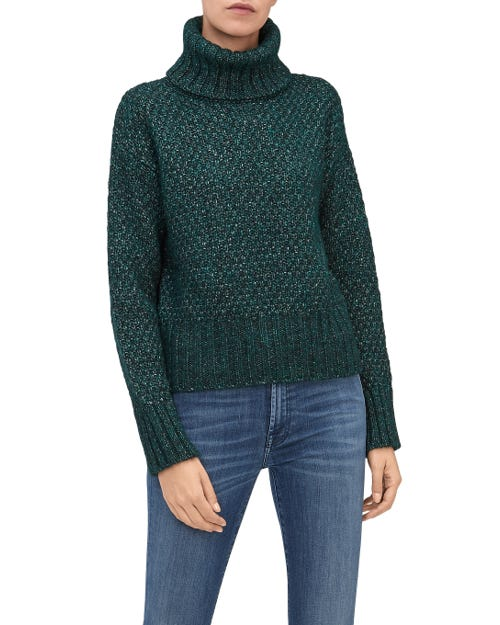 TURTLE NECK SWEATER MIXED FABRICS SPRUNCE