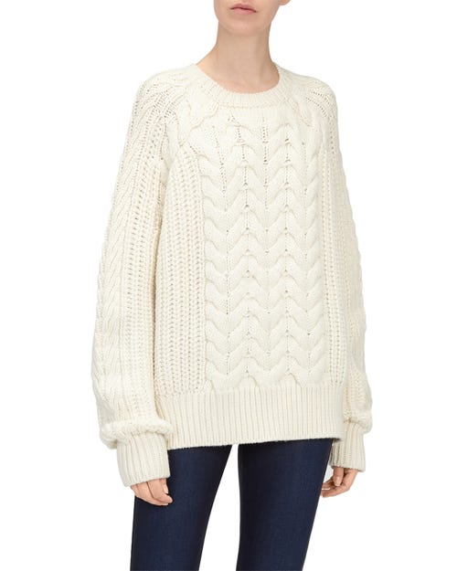 CHUNKY CABLE KNIT SWEATER WOOL ECRU