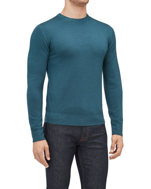 CREW NECK KNIT WOOL ABRASIONS DEEP TEAL