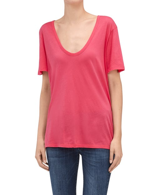 CURVED NECK TEE HOT PINK