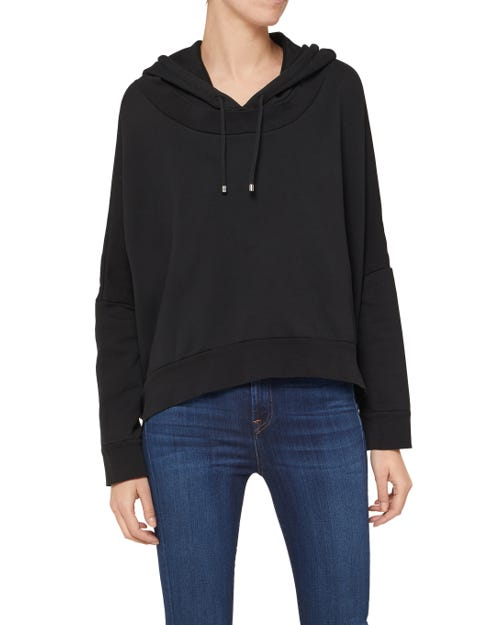 OVERSIZE HOODIE CROP COTTON BLACK