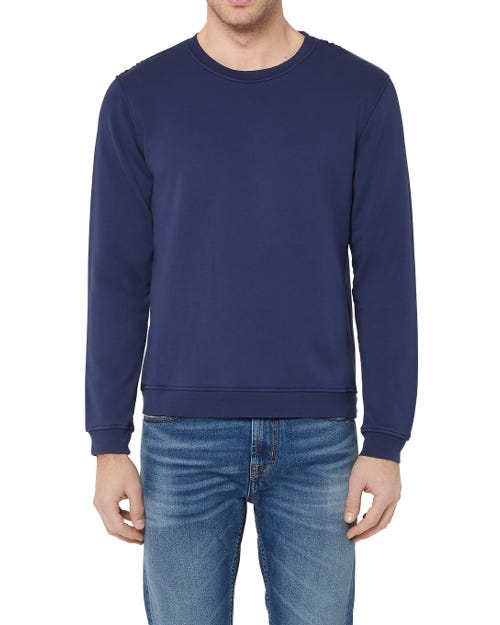 CREW NECK SWEAT COTTON BLUE WITH BLACK