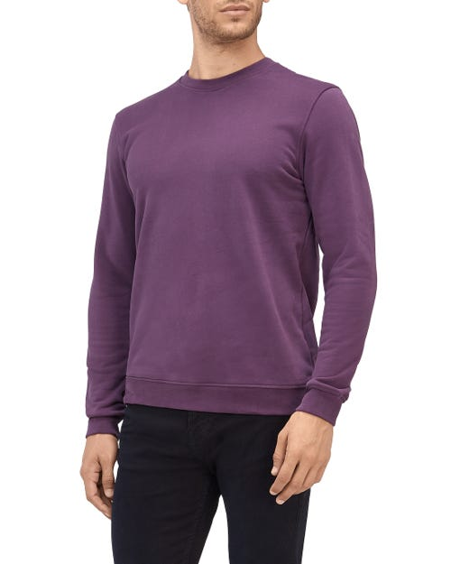 CREW NECK SWEAT COTTON PURPLE WITH BLACK STITCHING
