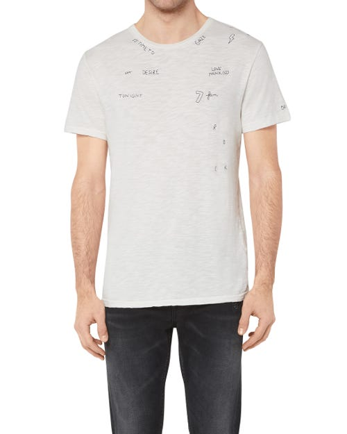 T-SHIRT  SLUB WRITING WHITE WITH INK BLUE