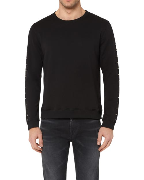 CREW NECK SWEAT COTTON STUDS BLACK
