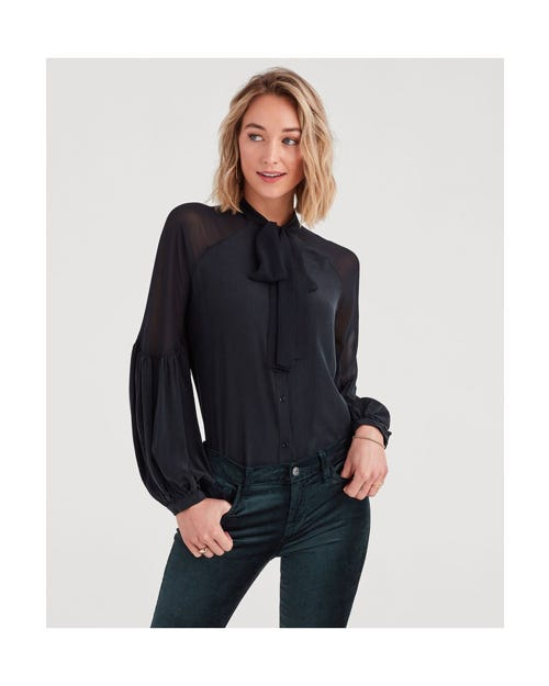 BOW TIE BLOUSON TOP JET BLACK