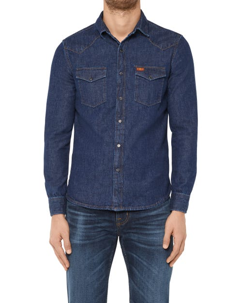 WESTERN SHIRT SHINY WEST RINSE BLUE