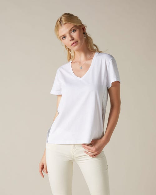 V-NECK COTTON WHITE SILVER LAMINATED OUTSEAM STRIPE