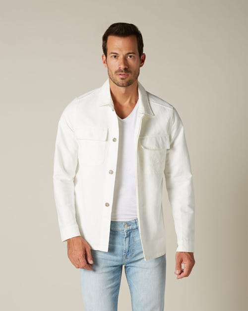 OVERSHIRT HEAVY COTTON LINEN OFF WHITE