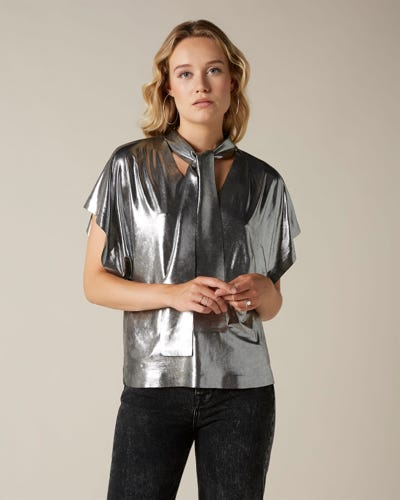 BOW SHIRT METAL GUNMETAL