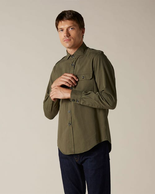 OVERSHIRT COTTON TWILL ARMY