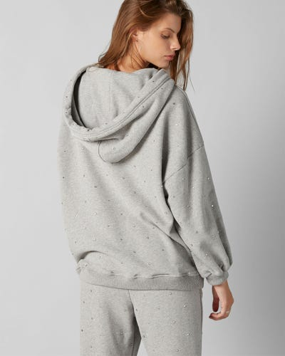 HOODIE COTTON GREY WITH RHINESTONES