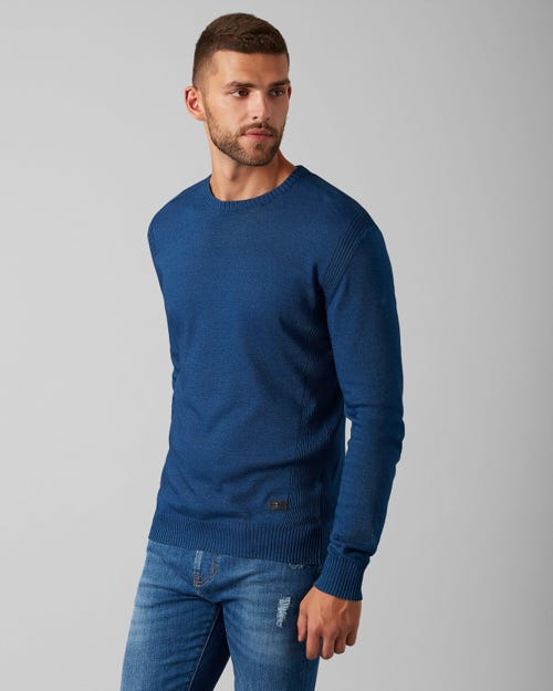 7 For All Mankind - Crew Neck Knit Cotton Dark Indigo