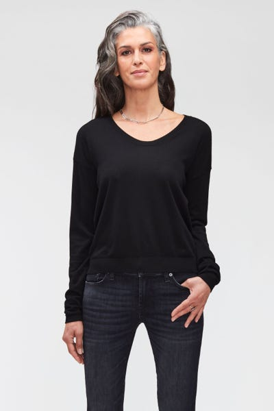 U-NECK KNIT MERINO WOOL  BLACK