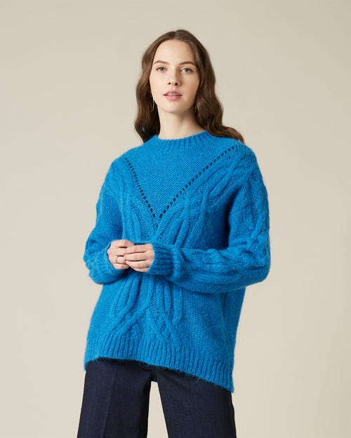 CABLE KNIT WOOL ALPACA ELECTRIC BLUE