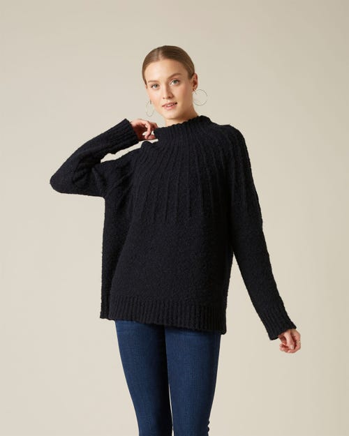 MOCK NECK SWEATER WOOL BLACK