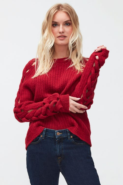SWEATER ALPACA WITH BRAIDED SLEEVES GINGER