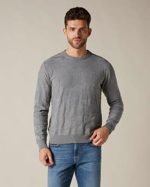 CREW NECK KNIT COTTON CAMOUFLAGE GREY