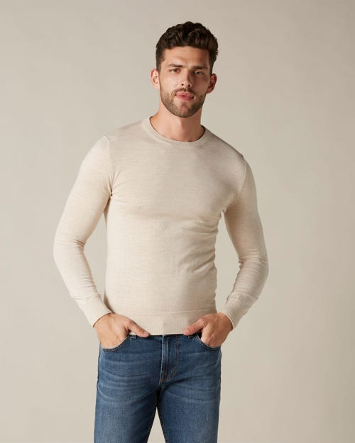 CREW NECK KNIT LIGHT CASHMERE ECRU
