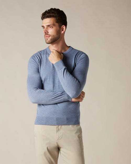 CREW NECK KNIT LIGHT CASHMERE SKY BLUE