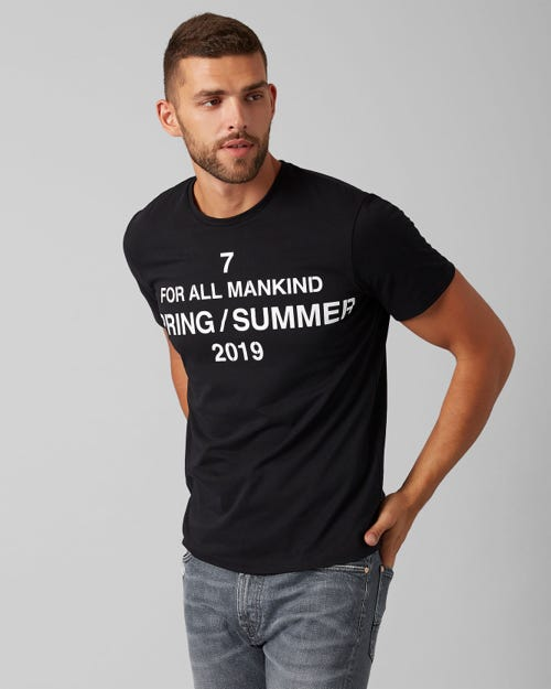 7 For All Mankind - Graphic Tee Cotton Logo Pure Black