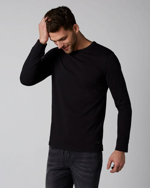 7 For All Mankind - Long Sleeve Tee Heavy Jersey Black