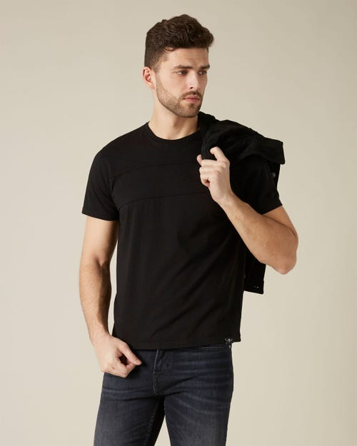 T-SHIRT STITCHED COTTON BLACK
