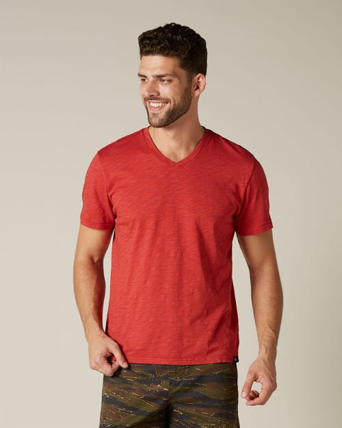 V-NECK T-SHIRT SLUB RED