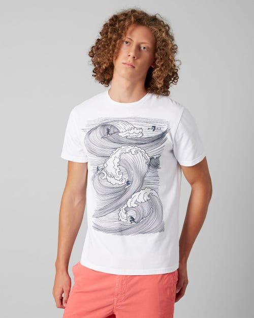 7 For All Mankind - Graphic Tee Cotton Suf Weave White