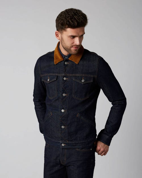 7 For All Mankind - Western Jacket Nazare Rinse Blue With Corduroy Collar