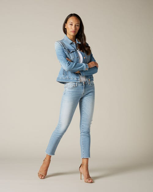 PYPER CROP LUXE VINTAGE BLUE EYES WITH RAW CUT AND DISTRESSED