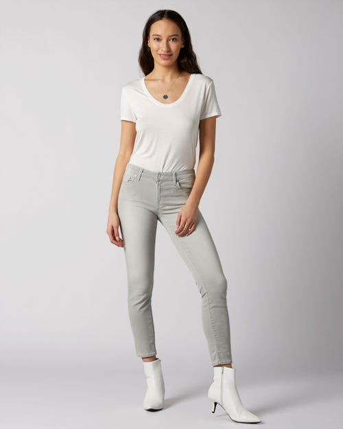 7 For All Mankind - Pyper Crop Slim Illusion Luxe Sea Rock With Embellished Label