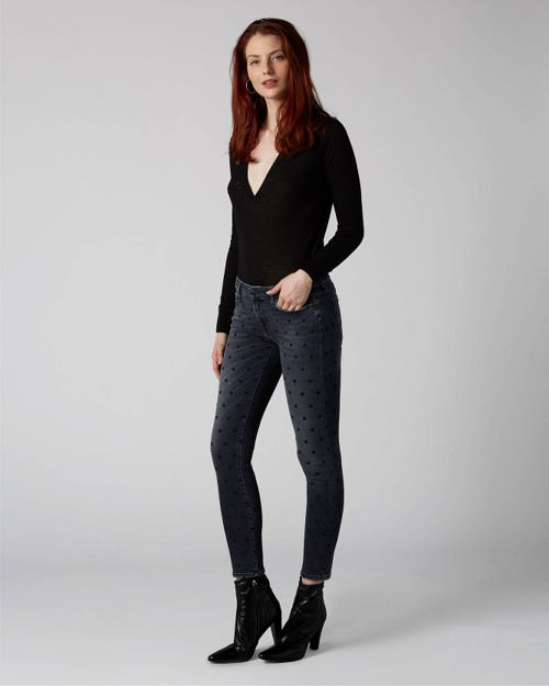 7 For All Mankind - Pyper Crop Slim Illusion Honest With Polka Dots