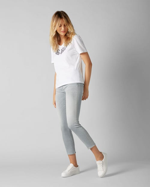 7 for all Mankind - PYPER CROP SLIM ILLUSION MOONSTONE WITH CRYSTALS HEM