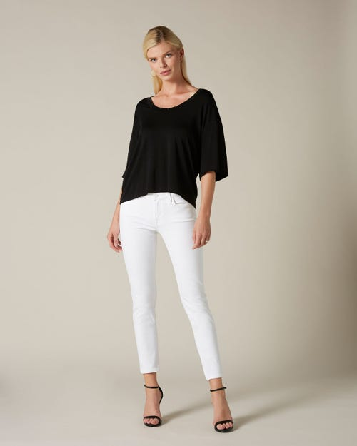 PYPER CROP SLIM ILLUSION PURE WHITE STUDDED EMBELLISHED SQUIGGLE