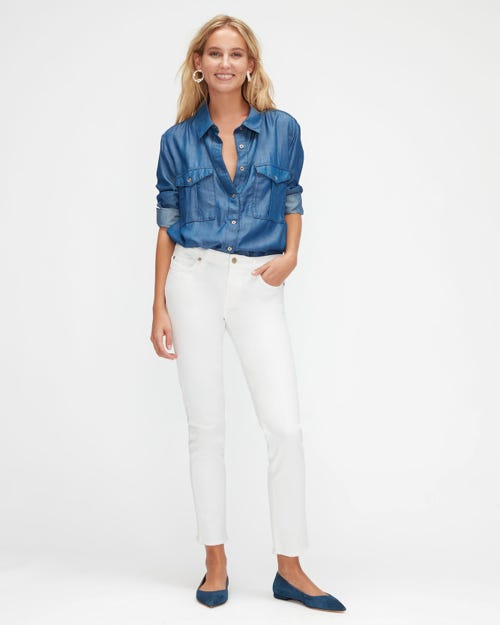 PYPER CROP SLIM ILLUSION PURE WHITE WITH RAW CUT FRAYED